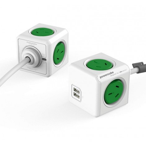 image else for Allocacoc PowerCube 4 Power Outlets & 2 USB, 3m Extended Cable, Green 5404/AUEUPCGREEN 5404/AUEUPCGREEN