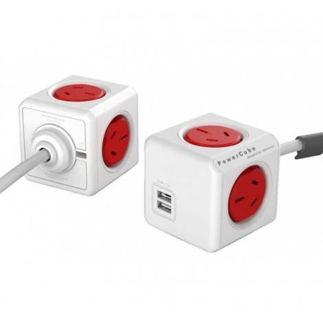 image else for Allocacoc PowerCube 4 Power Outlets & 2 USB, 3m Extended Cable, Red 5404/AUEUPCRED 5404/AUEUPCRED