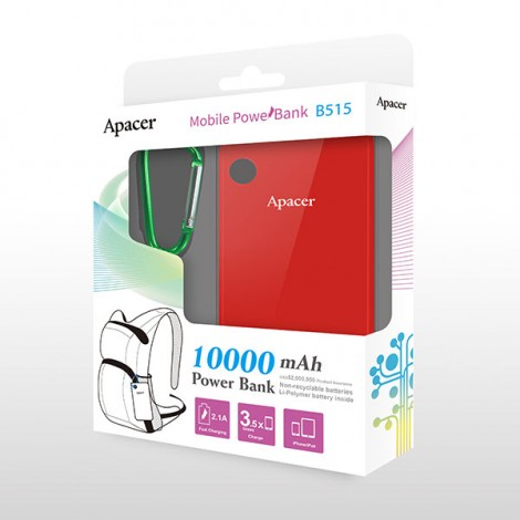 image else for Apacer Mobile Power Bank B515 10000mah Red Rp Apacer B515r-1 Apacer B515R-1