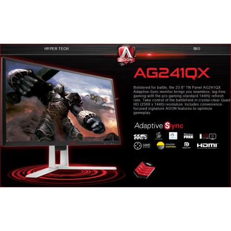 """image else for AOC AGON 23.8"""" 1ms 144Hz 2560x1440 FreeSync Gaming Monitor w/ HAS - HDMI2.0/ DP/ DVI/ VGA, Hub/ AG241QX/75"""