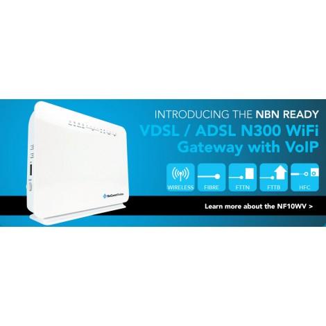 Netcomm Nf10wv N300 Wifi Vdsl/ Adsl Modem Router With Voip Gigabit Wan, 4 X  Lan, 2 X Fxs,