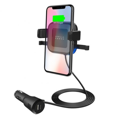 image else for Mbeat Gorilla Power 10W Wireless Car Charger With 2.4A Usb Charging Air Vent Clip & Windshield MB-WCS-02