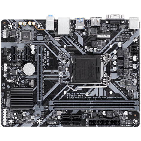 image else for Gigabyte Giga H310 2X Ddr4 Dimm 1 X Hdmi 6 X Usb 1X Rj-45 3 X Aj Support Windows 7 Micro Atx Ga-H310M-H-2.0 GA-H310M-H-2.0