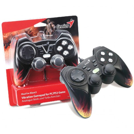 image else for Genius Maxfire Blaze3 Vibration Gamepad For Pc/ Ps2/ Ps3 Games, Vibration Feedback, Turbo, Usb, 84302 Blaze3