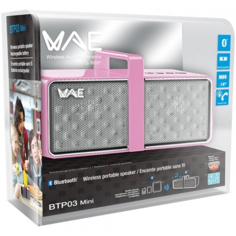 image else for Hercules BTP03 Mini Bluetooth Rechargeable Portable Speaker with Built-In Speakerphone Pink 4780747