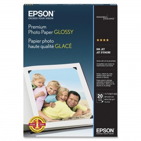 image else for Epson S041288 Premium Glossy Photo Paper A3 20 Sheets C13S041288