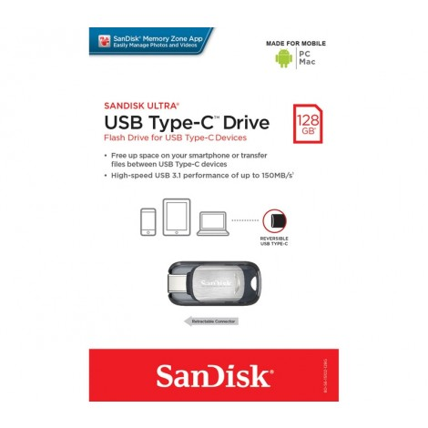 image else for SanDisk CZ450 Ultra USB Type-C 128GB Flash Drive, Metal, Type C Reversible, Super-Thin Retractable SDCZ450-128G-G46