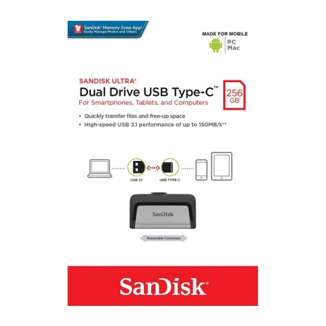 image else for SanDisk 256GB Ultra Dual Drive USB Type-C SDDDC2-256G, Easily Transfer Files Between Smartphones & PC FUSSAN256GSDDDC2