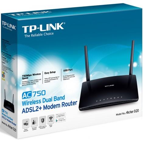 image else for TP-LINK Archer D20 - AC750 Wireless Dual Band ADSL2+ Modem Router Archer D20 Archer D20