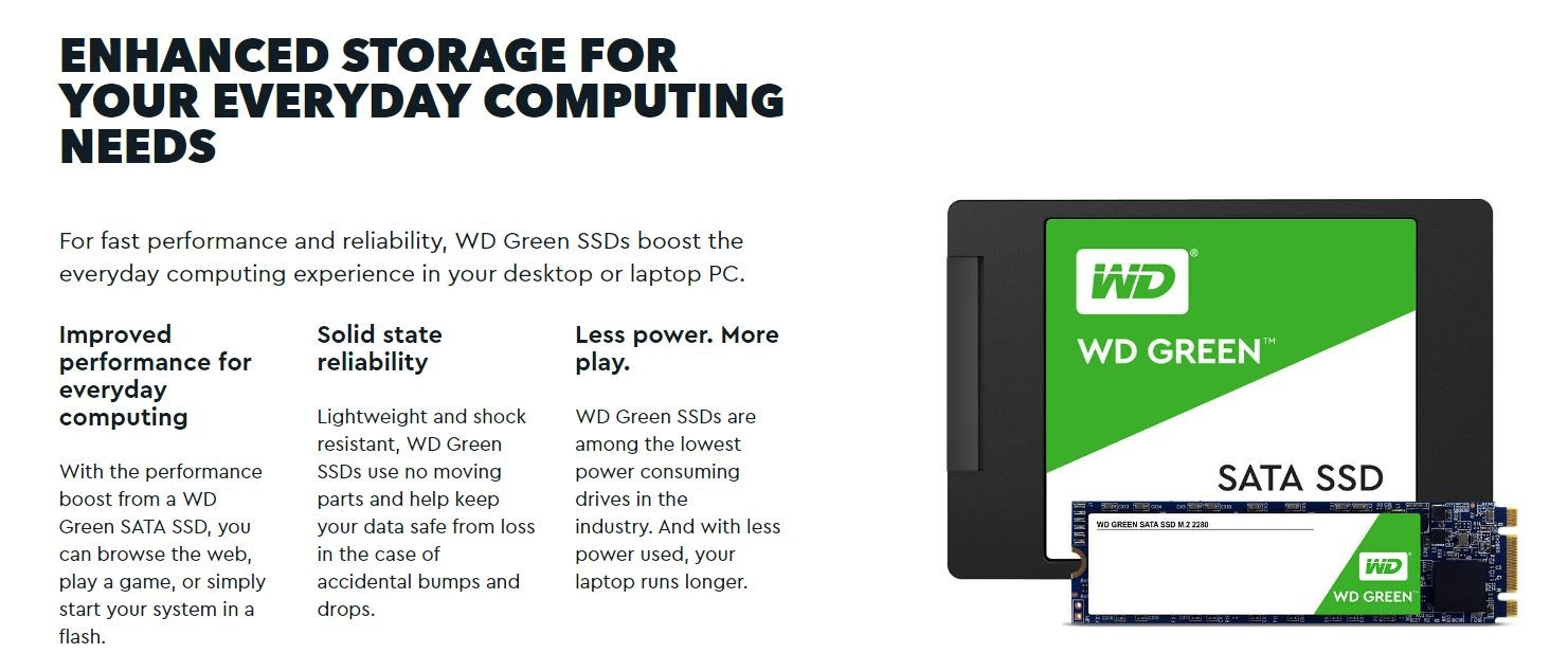 Western Digital Green 480gb M 2 2280 Ssd Transfer Speeds Up To 545mb/s - 3  Years Limited Warranty