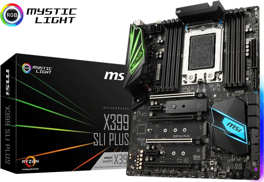 Msi X399 Sli Plus Atx Motherboard - Tr4 Ryzen 8xddr4 4xpci-e 3xm 2 Sli/ Cf  Typec Tpm X399 Sli Plus