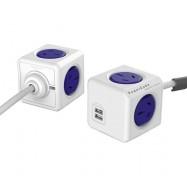 Allocacoc PowerCube 4 Power Outlets & 2 USB, 3m Extended Cable, Blue 5404/AUEUPCBLUE