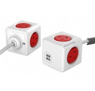 Allocacoc PowerCube 4 Power Outlets & 2 USB, 3m Extended Cable, Red 5404/AUEUPCRED