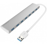 Simplecom CH371 Ultra Slim Aluminium 7 Port USB 3.0 Hub For PC Mac Laptop Silver CH371SL