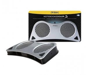Antec Notebook Cooler S Silver, USB Powered, Dual 80x15mm Ball Bearing Fan, 2-Speed Fan