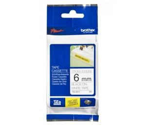 Brother TZES211 | 6mm Black on White Strong Adhesive TZE Tape TZES211