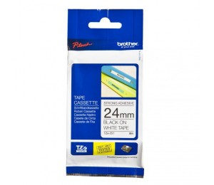 Brother TZES251 | 24mm Black on White Strong Adhesive TZE Tape TZES251