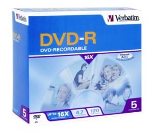 Verbatim DVD-R 5pk Jewel Case - 4.7GB 16x 95070