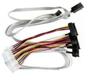 Adaptec Internal Mini-sas Hd X4 To Four X1 Sas Fan-out Cable With Sff-8448 Sideband, Used For Connecting