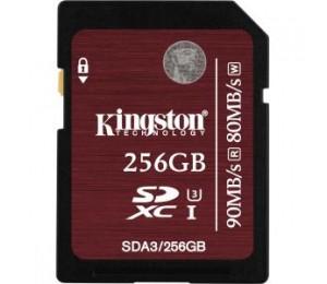 KINGSTON 256GB SDXC UHS-I SPEED CLASS 3 FLASH 90/80 SDA3/256GB
