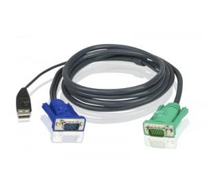 ATEN KVM Cable - 1.8m 3in1 VGA USB Console KVM Cable; HDB-15 Male to SPHD Male 2L-5202U