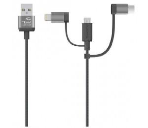 Team Micro USB & Lightning & USB-C 3 in 1 Charging Cable GREY TWC0CC01/GREY