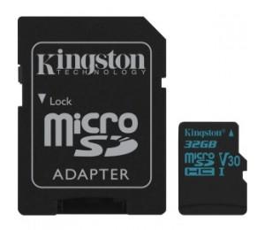 Kingston 32gb Msdxc Canvas Go 90r/45w U3 Uhs-i V30 Card + Sd Adapter Sdcg2/32gb