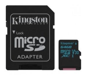 Kingston 64gb Msdxc Canvas Go 90r/45w U3 Uhs-i V30 Card + Sd Adapter Sdcg2/64gb