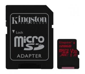 Kingston 128gb Microsdxc Canvas React 100r/80w U3 Uhs-i V30 A1 Card+sd Sdcr/128gb