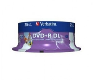 Verbatim Dvd+r Dl 8.5gb 8x White Wide Ij 25pk Sp 43667