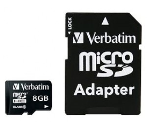 Verbatim Micro SDHC 8GB (Class 10) with Adaptor 44081