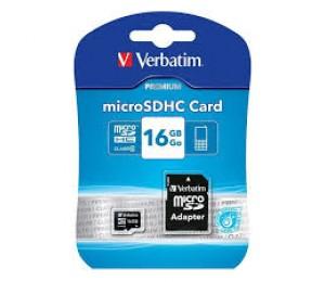 Verbatim Micro SDHC 16GB (Class 10) with Adaptor 44082