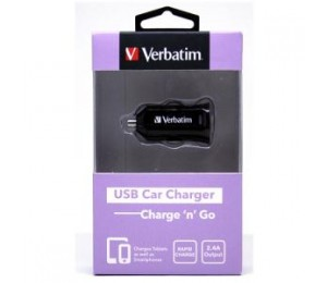 VERBATIM USB CAR CHARGER 2.4A - BLACK 64957