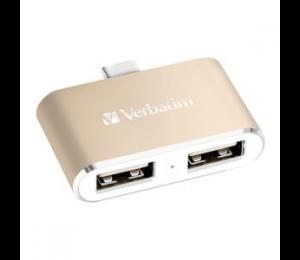 Verbatim Usb-c 3.1 Dual Port Usb Hub - Gold 65290