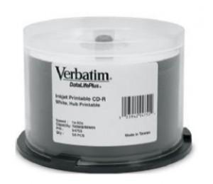 VERBATIM CD-R 50pk Spindle - IJ Printable Wide - 52x 80min Blue Azo 94755