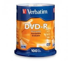 VERBATIM DVD-R 4.7GB 100Pk Spindle 16x 95102 225870