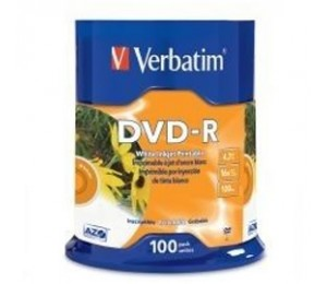 Verbatim DVD-R 4.7GB 16X WHITE INKJET 100PK SPINDLE 95153
