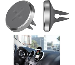 Logitech + Trip Universal Mobile Phone Air Vent Mount Holder Cradle Polished Silver Chrome for