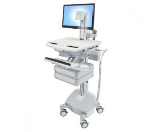 ERGOTRON STYLEVIEW CART WITH LCD PIVOT LIFE POWERED 2 DRAWERS AUS NZL SV44-1322-4