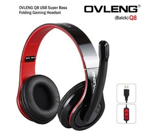 OVLENG Q8 USB Port Super Bass On-ear Headphones with Microphone & 2.0 m Cable (Black & Red) AHSOVLQ8UB-R