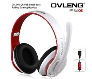 OVLENG Q8 USB Port Super Bass On-ear Headphones with Microphone & 2.0 m Cable (White & Red) AHSOVLQ8UW-R
