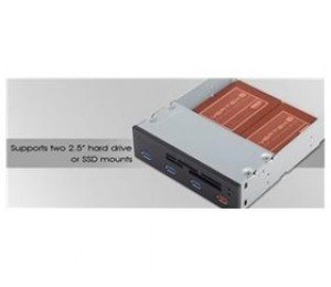"Silverstone 5.25"" Card Reader With 4x Usb3.0 Port"
