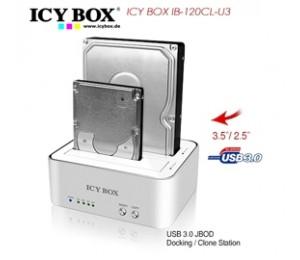 Icy Box Ib-120cl-u3 2-bay Docking And Clone Station For 2.5 Inch & 3.5 Inch Sata Hdds Usbicy120clu3