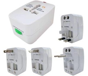 Universal All-in-1 Travel Charger Adapter Plug With Travel Pouch