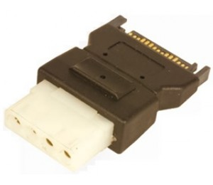 Wicked Wired Male 15Pin SATA To Female 4Pin Molex Power Plug Adapter WW-P-PCSATA-4PIN 183076