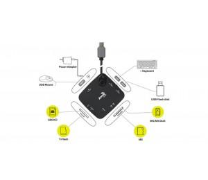 Aerocool Essential Typec Hub With Card Reader With 3.5mm Power Port Aer-asa-athb28r