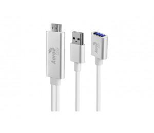 Aerocool Premium Universal Usb Hdmi Tv Cable Stainless Steel Silver Asa-av-003