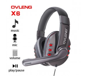 Ovleng X6 Wired Stereo Headphone with Microphone for Computer Games AHSOVLX6RED