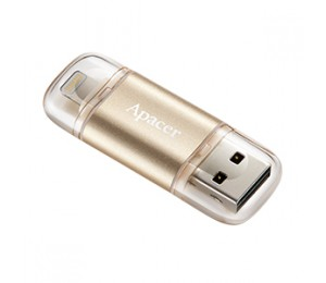 Apacer AH190 64GB GOLD Dual Flash (USB 3.1 Type A + Lightning) (Apple MFi Certified, works with