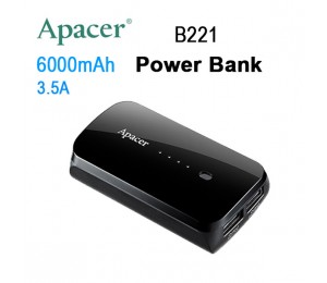 Apacer Mobile Power Bank B221 6000mah Black Rp Apacer B221b-1
